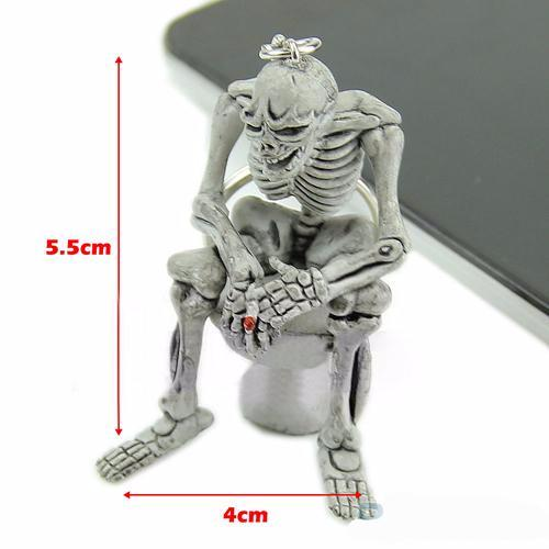 Skull Skeleton on the Toilet Keychain