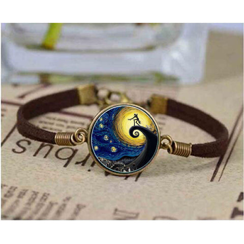 Jack Skellington in the Moonlight Glass Dome Vintage Style Leather Bracelet