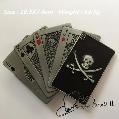Skull & Poker Playing Card Zinc Alloy Pin Belt Buckle
