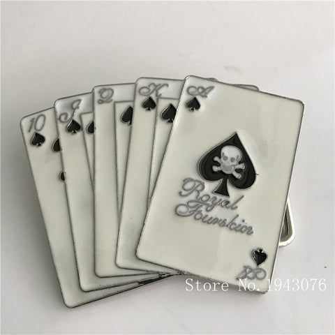 Skull Spades Playing Cards Zinc Alloy Belt Buckle in White and Black