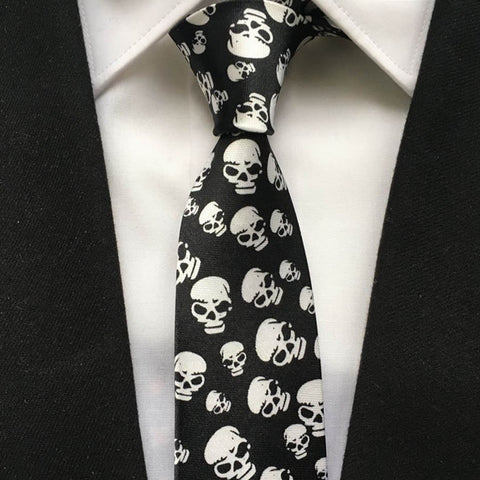 Skull Pattern Men's Fashion Necktie for Business Attire and Casual Wear