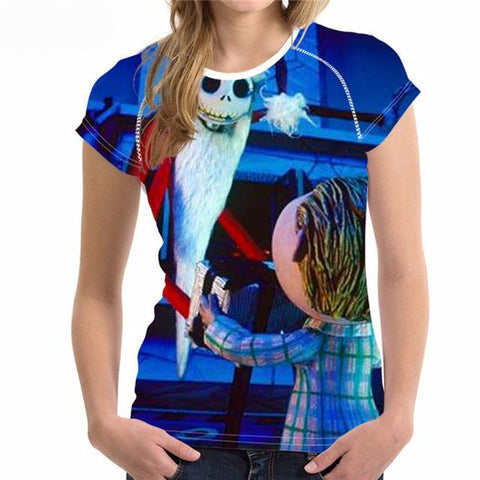 Nightmare Before Christmas 3D Graphic Print Round Neck T-Shirt in Assorted Designs