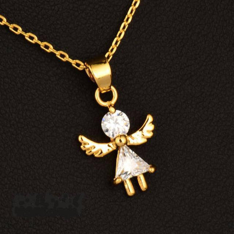 Cubic Zircon Angel Pendant Necklace