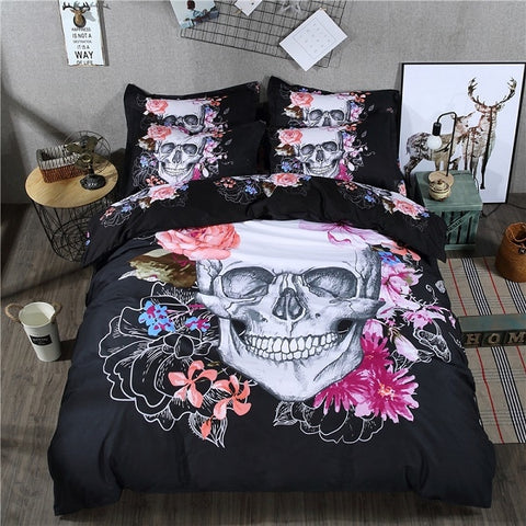 Colorful Gothic Skull & Floral Duvet Cover 3-Piece Bedding Set in Black