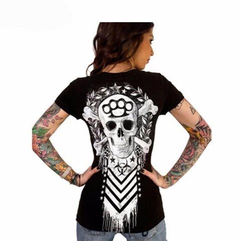 Cross Bone Skull V-neck Graphic Print Women's T-Shirt in Black