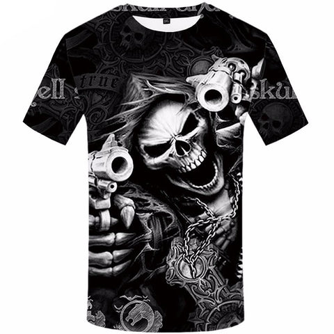 Skull & Gun Graphic Print Crew Neck T-Shirt in Black & White