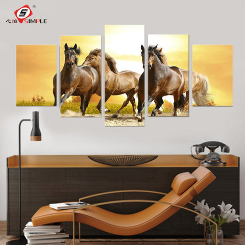 5pc Running Horse  Amazing Canvas Print