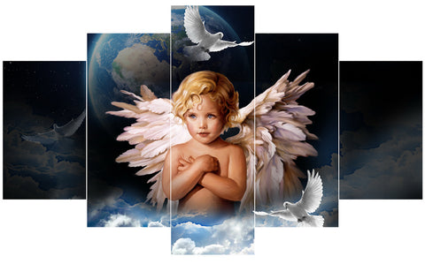 5 Panel Child Angel Canvas Wall  Art Pictures - My Gift Of Today