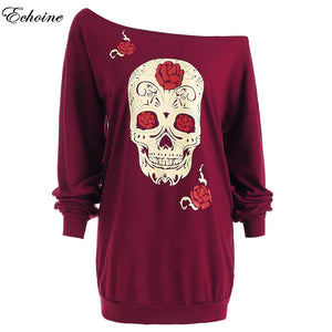 Roses & Skulls Off Shoulder Long Sleeve Loose Pullover Shift Dress in Red