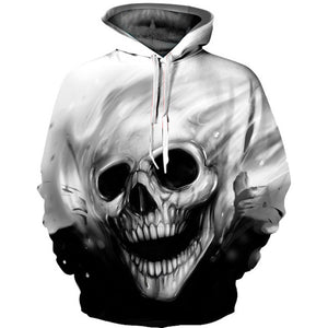 Skull Hoodies Charcoal Sketch Unisex Graphic Print Pullover Hoodie in Black and White