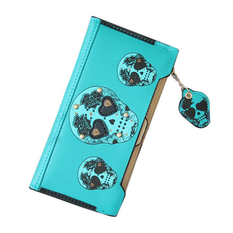Bohemian Skull Women's Leather Clutch Bag Wallet