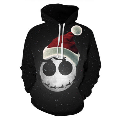 Jack Skellington Santa Holiday Printed Graphic Unisex Pullover Hoodie in Black