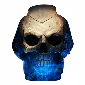 Skull Blue Smokes Sweatshirt Casual Unisex 3D Graphic Print Pullover Hoodie in Black
