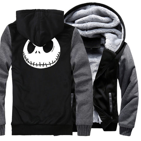 Jack Skellington Evil Face Print Zippered Jacket Sweatshirt
