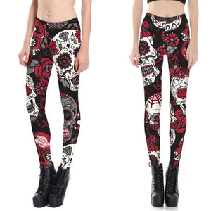 Skull & Floral Women's Active Yoga Pants Casual Leggings in Red & Black