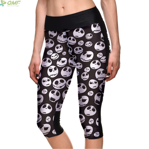 Jack Skellington Workout Capri Yoga Polyester Legging Pants for Activewear
