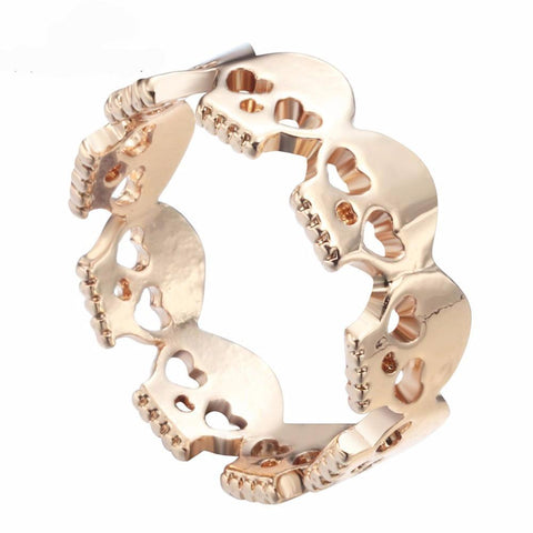 Skulls with Heart Eyes Romantic Zinc Alloy Band Rings