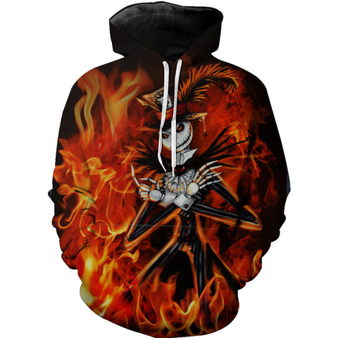 Jack Skellington Fiery Graphic Unisex Pullover Hoodie in Back