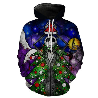 Jack Skellington Nightmare Before Christmas Stained Glass Unisex Graphic Print Pullover Hoodie in Black