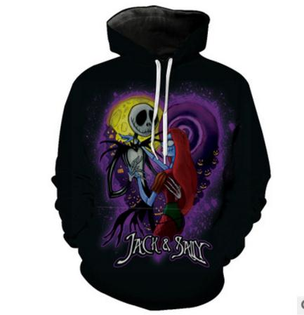 Jack Skellington & Sally Nightmare Before Christmas Printed Graphic Unisex Pullover Hoodie in Black