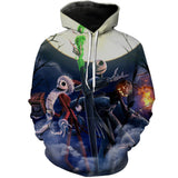 Jack Skellington Reign Over Halloween Town Unisex 3D Graphic Print Pullover Hoodie in Black