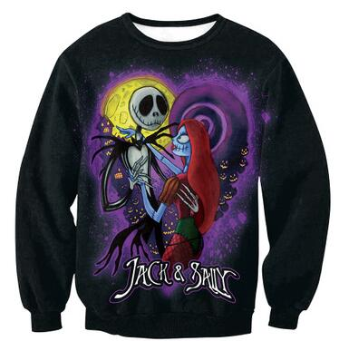 Nightmare Before Christmas Jack & Sally Heart Moon Sweatshirt Pullover in Black