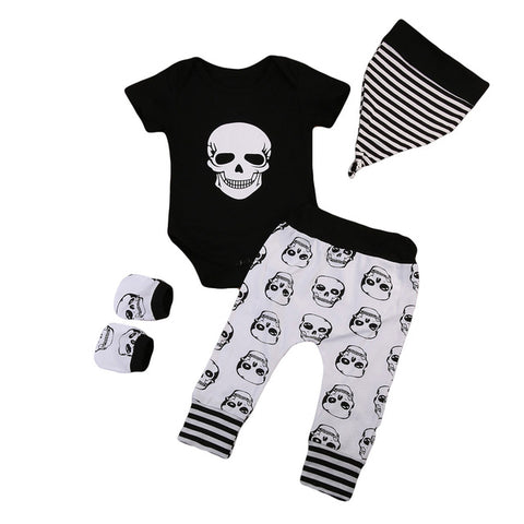 Skull Pattern 4-Piece Clothing Set for Newborn Infant