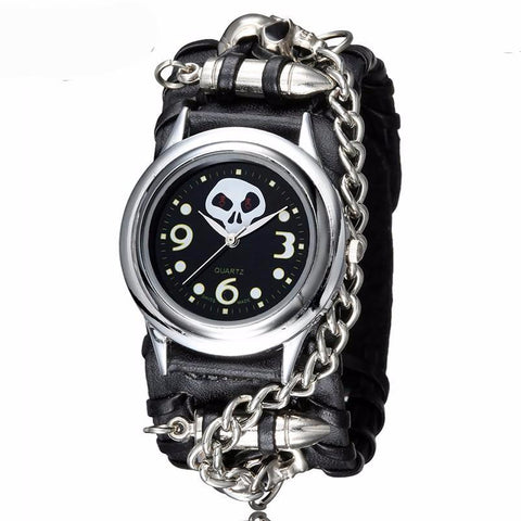 Skull Punk Style Leather Quartz Analog Wristwatch with Metal Chain Accent