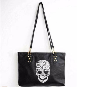 Snakeskin Skull Leather Casual Shoulder Bag in Black