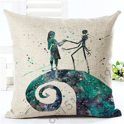 45X45 cm Nightmare Before Christmas Cotton Linen Throw Pillow Covers