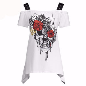 Skull & Roses Print Off Shoulder Women's Blouse Top