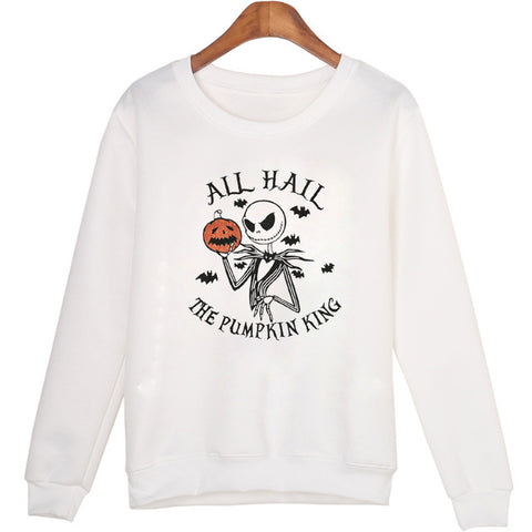 Jack Skellington All Hail the Pumpkin King Pullover Sweatshirt in White