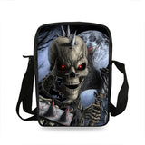 Punk Style Skull Graphic Print Crossbody Messenger Bag for Men & Women