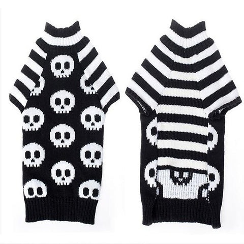Stripes Skull Shaped Dog Sweater Clothing Coat Knitwear in Black & White