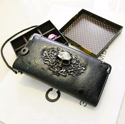 Punk Style Skull Long Zip Around Leather Clutch Wallet with Chain Wristlet