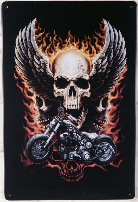 Skull on Fire Motorcycle Metal Tinplate Painting Home Decoration Wall Art