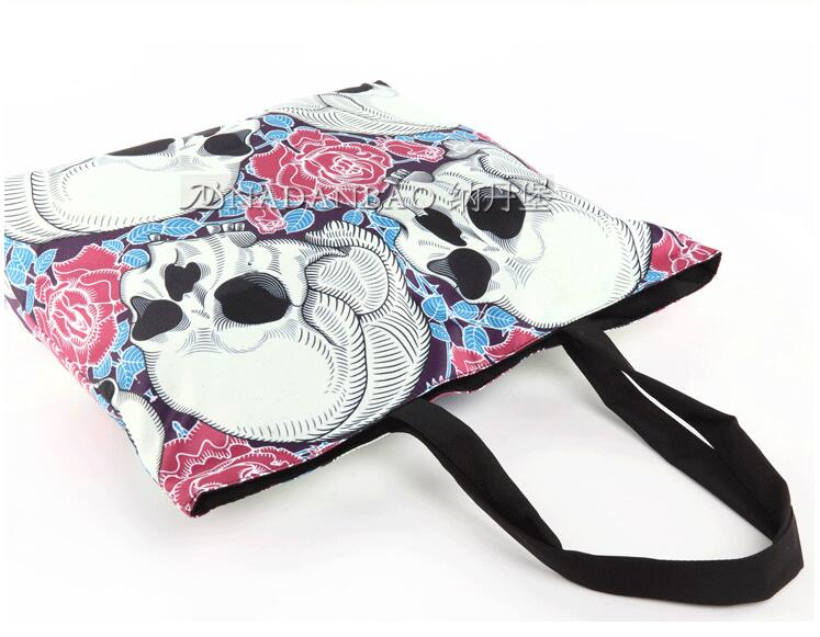 Head Skulls and Floral Graphic Print Zippered Canvas Tote Bag