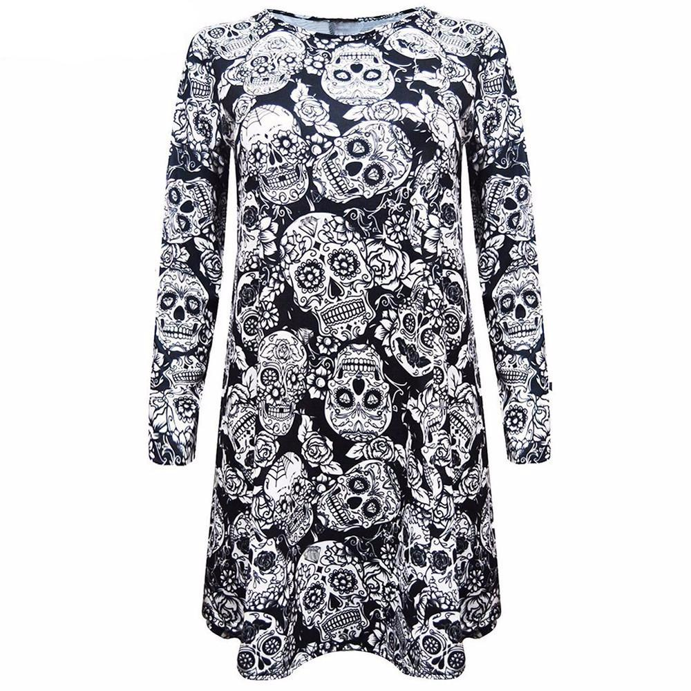 Skull Print Women's Plain Casual Long Sleeve T-Shirt Dress