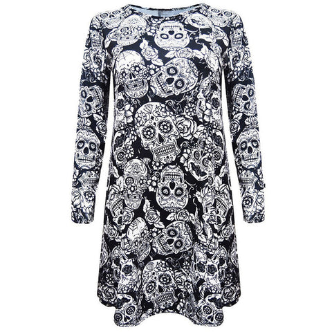Mini Dress Skull Long Sleeve