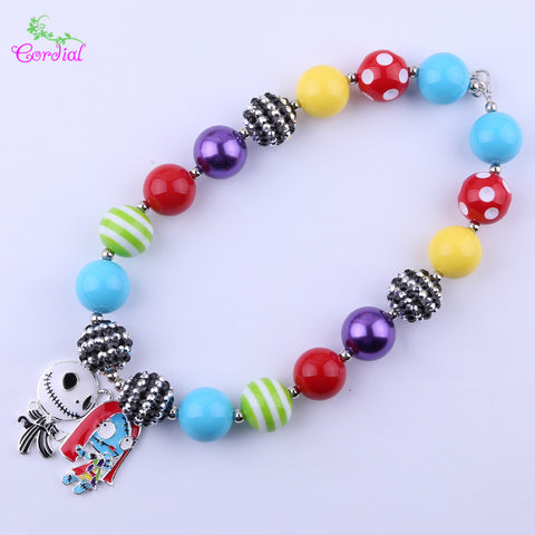 2Pcs Kids Jack And Sally Pendant Chunky Bubblegum Necklace
