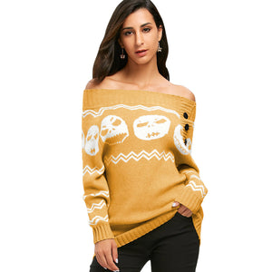 Nightmare Before Christmas Jack Skellington Women's Knitted Off Shoulder Pullover