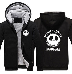Jack Skellington Mommy's Little Nightmare Zip Front Hooded Fleece Warm Jacket in Black