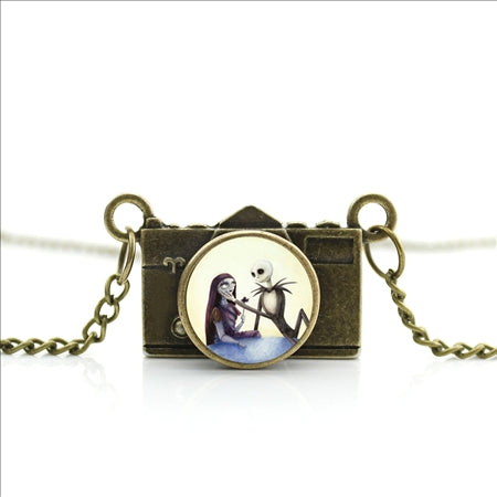 Nightmare Before Christmas Zinc Alloy Glass Camera Pendant Necklace