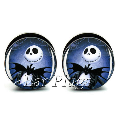 Jack Skellington in a Tuxedo Stainless Steel Ear Gauge Plugs and Tunnel Expander Body Piercing Jewelry