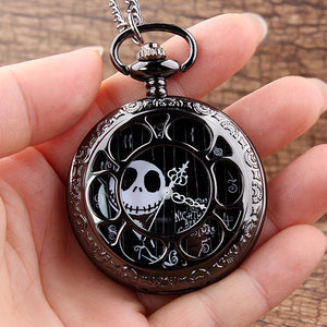Tim Burton's Nightmare Before Christmas Antique Quartz Chain Link Pocket Watch Necklace