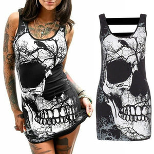 Gothic Skull Print Sleeveless Scoop Neck Bodycon Summer Dress
