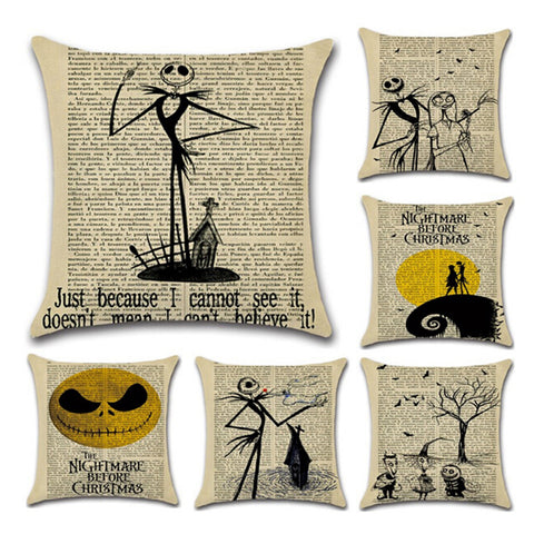 Nightmare Before Christmas Vintage Newspaper Decorative Throw Pillow Cover