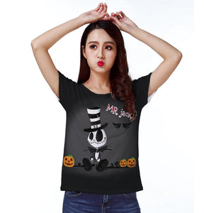 Nightmare Before Christmas Jack Skellington Women's Graphic Print T-Shirt in Black