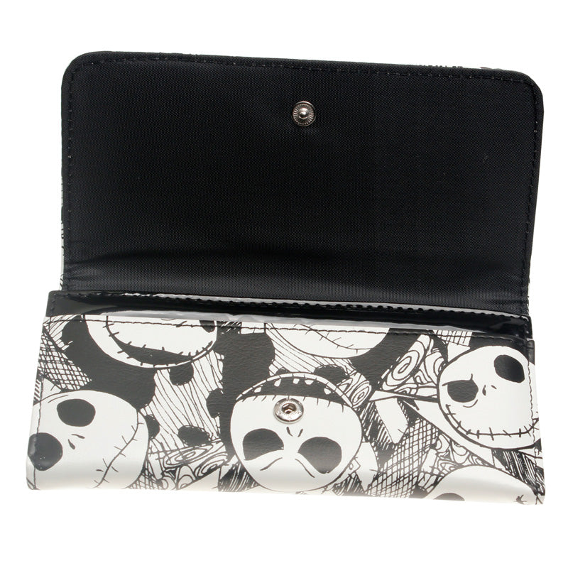 Jack Skellington Nightmare Before Christmas Snap Close Trifold PU Leather Wallet