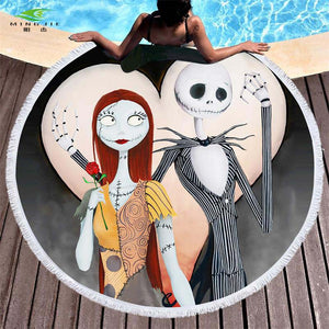 Nightmare Before Christmas Microfiber Round Tasseled Beach Towel Tapestry 150 cm